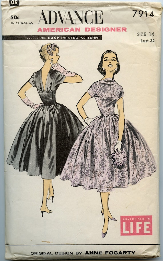 1950s Vintage Sewing Pattern Advance 7914 by American Designer