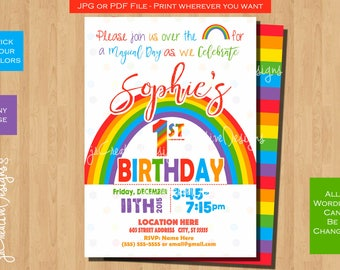 Rainbow Girl first birthday invitation Rainbow Birthday invite Rainbow invitation 1st birthday girl Rainbow Birthday Invitation girl party