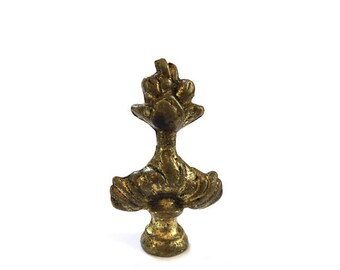 Unique Antique Solid Brass Lamp Finial / Sacred Heart Brass Finial / Lighting Lamp Accessories