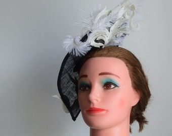 Large Black  tear drop shaped fascinator with lace