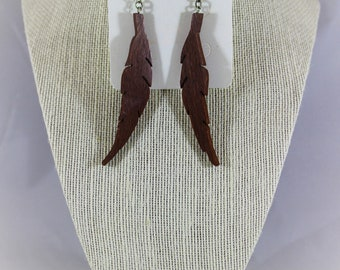 Lace wood feather earrings