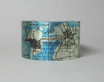 College Point Whitestone  Flushing Queens New York Map Cuff Bracelet Unique Gift for Women or Men