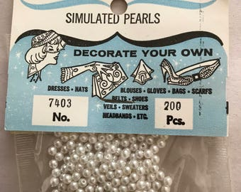 """Vintage """"Simulated Pearls"""" White Beads"""
