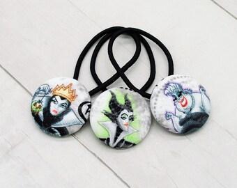 Villain Hair Tie, Evil Queen Ponytail Holder, Maleficent Gift, Ursula Pigtail Set, Disney Villain, Sea Witch, Sleeping Beauty, Snow White