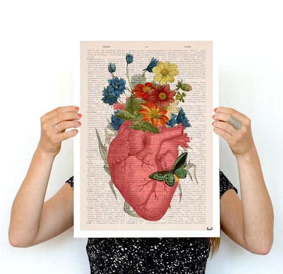 Pink Flowery Heart Human Anatomy print - Anatomical art prints wall art doctor, digital art wall art, SKA088PA3
