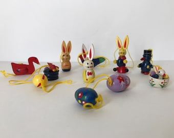 Vintage Wooden Easter Decorations * Miniatures * Easter Eggs * Easter Bunny
