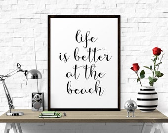 Motivational Print, Printable Quotes, Typography Print, Printable Wall Art, Home Decor, Inspirational Quote, Life Is Better At The Beach