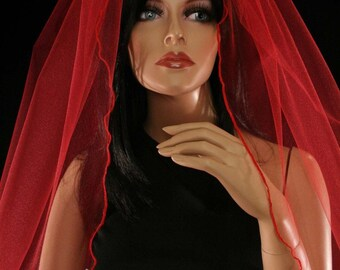 The lovely Red gothic wedding veil -- Sisters of the Moon