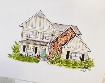 Custom home illustration, Archival Quality 8x10