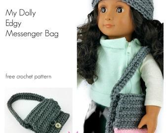 "Crochet Pattern - My Dolly Edgy Messenger Bag crochet pattern 18"" doll pattern - PDF photo tutorial"
