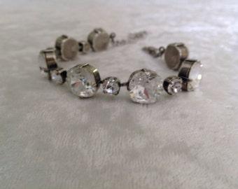 Swarovski crystal bracelet cushion cut 12mm and 6mm crystal stones