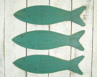 Wooden Fish Art Fish Wall Art Wood Fish Decor Nautical Decor Beach Decor Fishing Decor Lake House Decor School of Fish Beach House Decor
