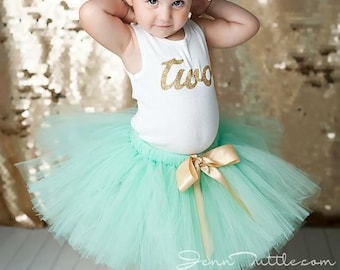 Second Birthday Outfit Birthday Outfits Birthday Outfit 2nd Birthday Outfit Mint Gold Tutu Dress Birthday Tutu