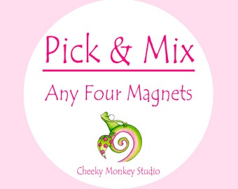 Pick Any 4 Magnets, kids party bag gifts, party bag fillers, Kids Birthday gift for her, for him, teenage gift, novelty, pocket money gift