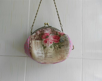 Rose Canvas Clutch Kisslock Purse