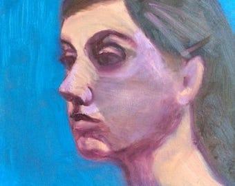"""Original Oil Painting-Small Portrait 6 x 6""""  """"Claudia"""""""