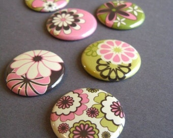 Mod Flowers - Seven 1 Inch fridge magnets in pink, green, vanilla and dark chocolate 1107