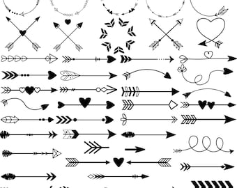 Arrow SVG - Arrow DXF - Arrow Clipart -  50 Arrows bundle - Cutter Files - Arrow cutting file - Circle frame - tribal arrow svg
