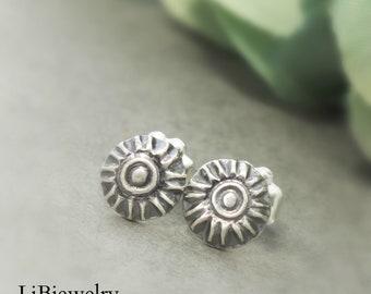 Sterling Silver Studs, Silver  Flower Earrings, Handmade Earrings, Metalsmith, Handmade Jewelry, Silver Jewelry,