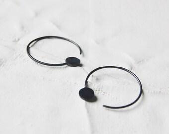 Hoop earrings silver // cycle earrings // geometric earrings N21 // modern earrings // minimal hoops // GM021