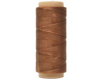 Brown Polyester Waxed Round Cord, Thread, String; Leather Sewing Stitching Craft Beading Repair Jewelry Cord; 0.45mm, 200m Long Spool