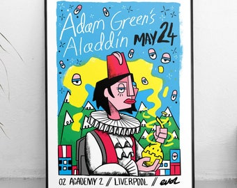 Adam Green's Aladdin, official 2016 gigposter, Liverpool 02 academy, Adam Green, gig poster, 4 colour screen print, illustrated poster.