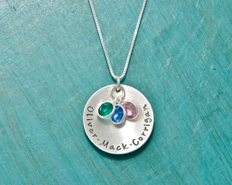 Sterling Silver personalized mothers necklace with kids names and crystals