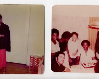 Vintage Lot of 2 Family Snapshots   Photo Photograph Smiling Young Beautiful Ladies Girl Birthday Photo Family   Paper Ephemera  