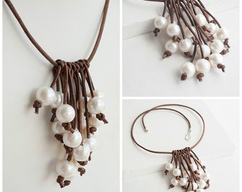 Rustic Pearl Necklace - Rustic Wedding Necklace - Pearl Leather Necklace - Beach Wedding Necklace - June Birthday Gift