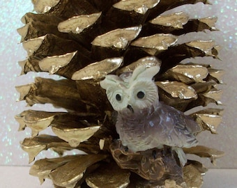 Gold pine cone ornament with mini owl Christmas ornament