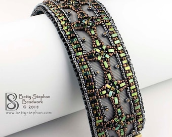 Aztec Cuff bracelet KIT bead embroidery and beadweaving- metalic colors