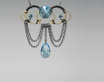 Swarovski Crystal Necklace, Aquamarine Crystal, Crystal Pendant, Industrial Jewelry, Space Jewelry, Youniquely Chic, Setebos v4