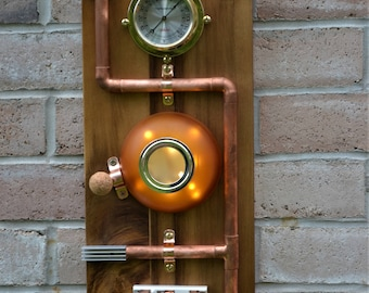 Steampunk wall art wood copper night light home decor