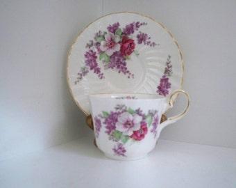 Vintage Home Dining Bone China September Floral Teacup and Saucer Made in England September Birthday September Cup