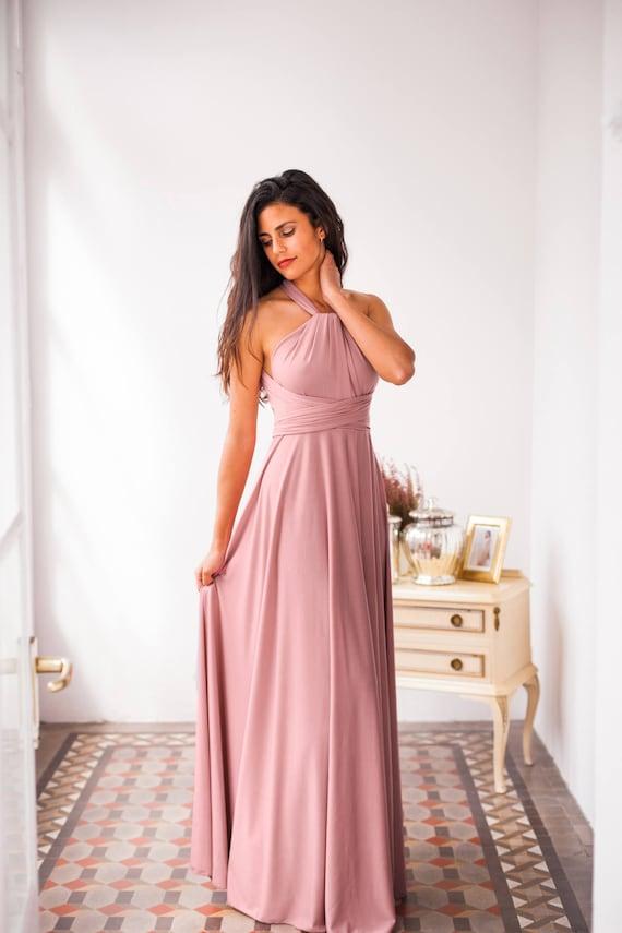 Vestido romantico rosa palo vestido largo de fiesta vestido