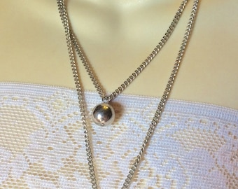 Vintage 1960's double strand silver flat curb chain silver ball dangles necklace