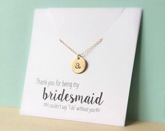 Collier demoiselle d'honneur, demoiselle d'honneur, demoiselle d'honneur cadeau, collier initiale en or, or collier de disque de demoiselle d'honneur, initiale, cadeau de remerciement