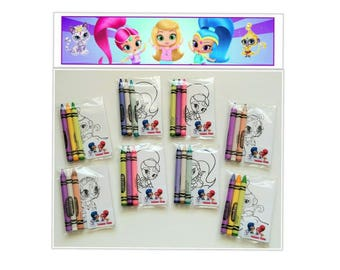8 sets Shimmer and Shine Premium Crayola Crayons and Coloring Card Favors ~ Shimmer and Shine Birthday Party Favors