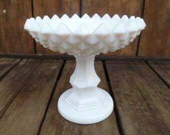 Beautiful Milk Glass Pedestal Candy Dish Westmoreland Glass