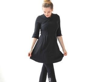 Tunic| Tunic Dress| Black Tunic Dress| Tunica| 3 4 Sleeve Dress| Cotton Dress|Little Black Dress| Mandarin Collar Dress|