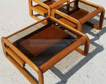 Set Of Danish Modern Cantilever Tables By Lou Hodges For Mersman, Mersman  Bellaire, Coffee