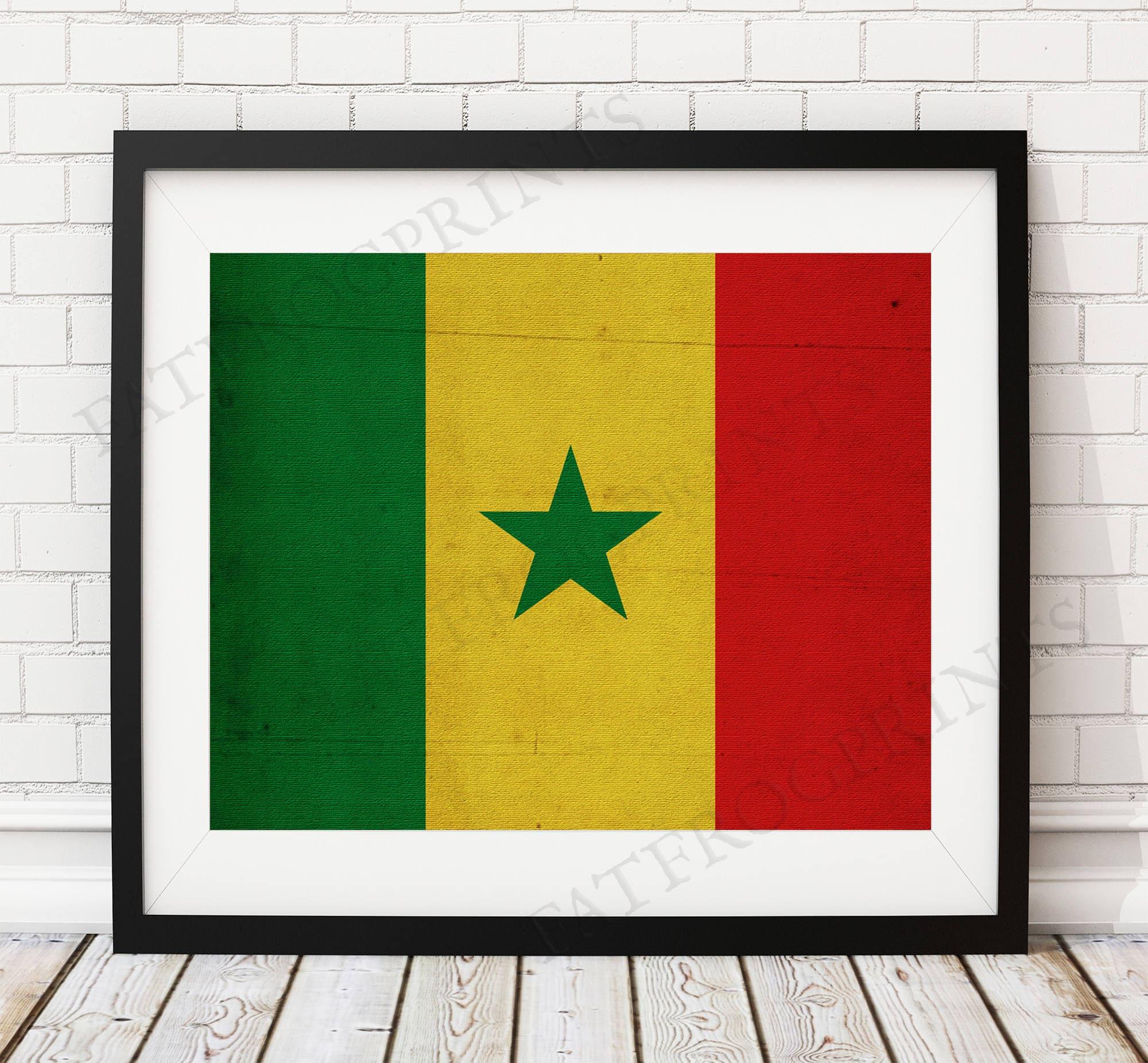 Senegal Flag Print Senegal Flag Art Senegalese Gifts Flag