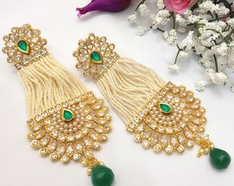 Handmade Earrings with Cubic Zirconia Indian Wedding jewelry Pakistani Bollywood Jewelry Earrings indian jewellery