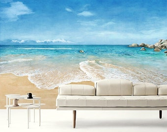 Beach Scene Wallpaper Epic Sea Wall Mural Blue Ocean Wall Paper Sky U0026 Cloud Wall  Art