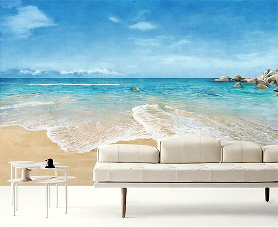 Beach scene wallpaper epic sea wall mural blue ocean wall for Beach scene mural wallpaper