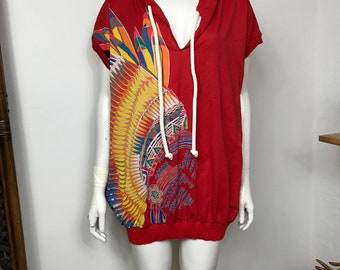 Vtg 70s 80s Armonia Native southwestern headdress coverup mini dress
