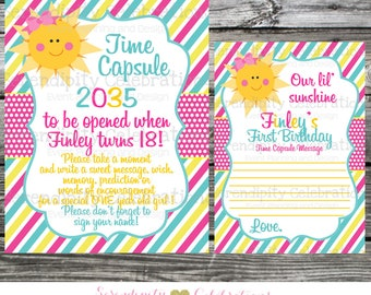 You are my sunshine time capsule printable card, 1st birthday, sun wish card, sun time capsule printable sign, sun birthday party