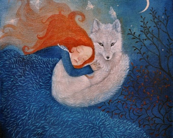 """Limited edition giclée print of original painting by Lucy Campbell - """"guided by moonlight"""""""