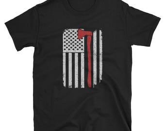 Firefighter Ax Shirt Gift USA Flag Tee