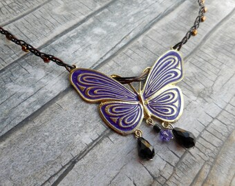 Purple enameled butterfly pendant brown hand braided leather necklace / ladies jewelery / handmade jewelry unique fashion accessories
